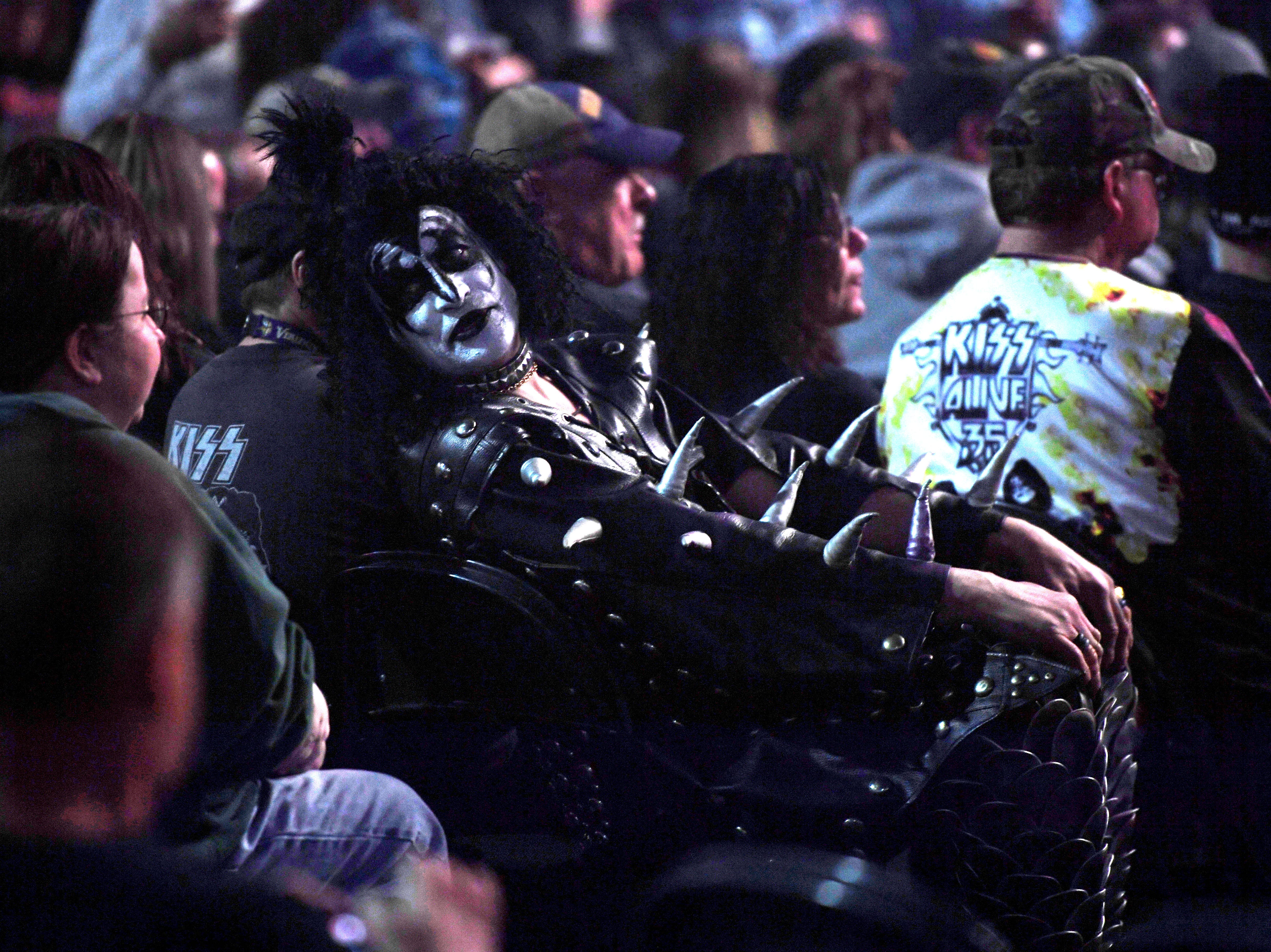A KISS fan wears a full on costume to the KISS End of the Road World Tour Wednesday, March 6, at the Denny Sanford Premier Center in Sioux Falls. The line up included lead vocalist Paul Stanley, bassist Gene Simmons, guitarist Tommy Thayer and drummer Eric Singer.
