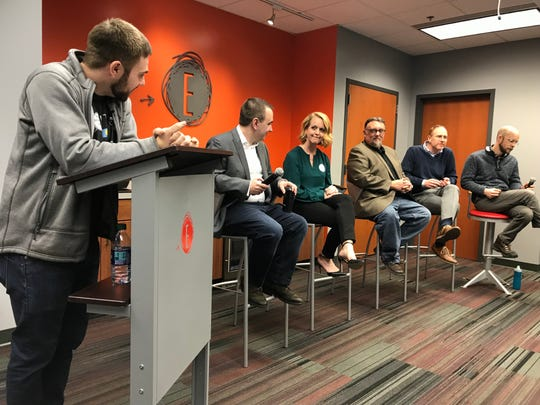 Zeal Center for Entrepreneurship's Thadeus Giedd leads a panel discussion of Sioux Falls' startup ecosystem.