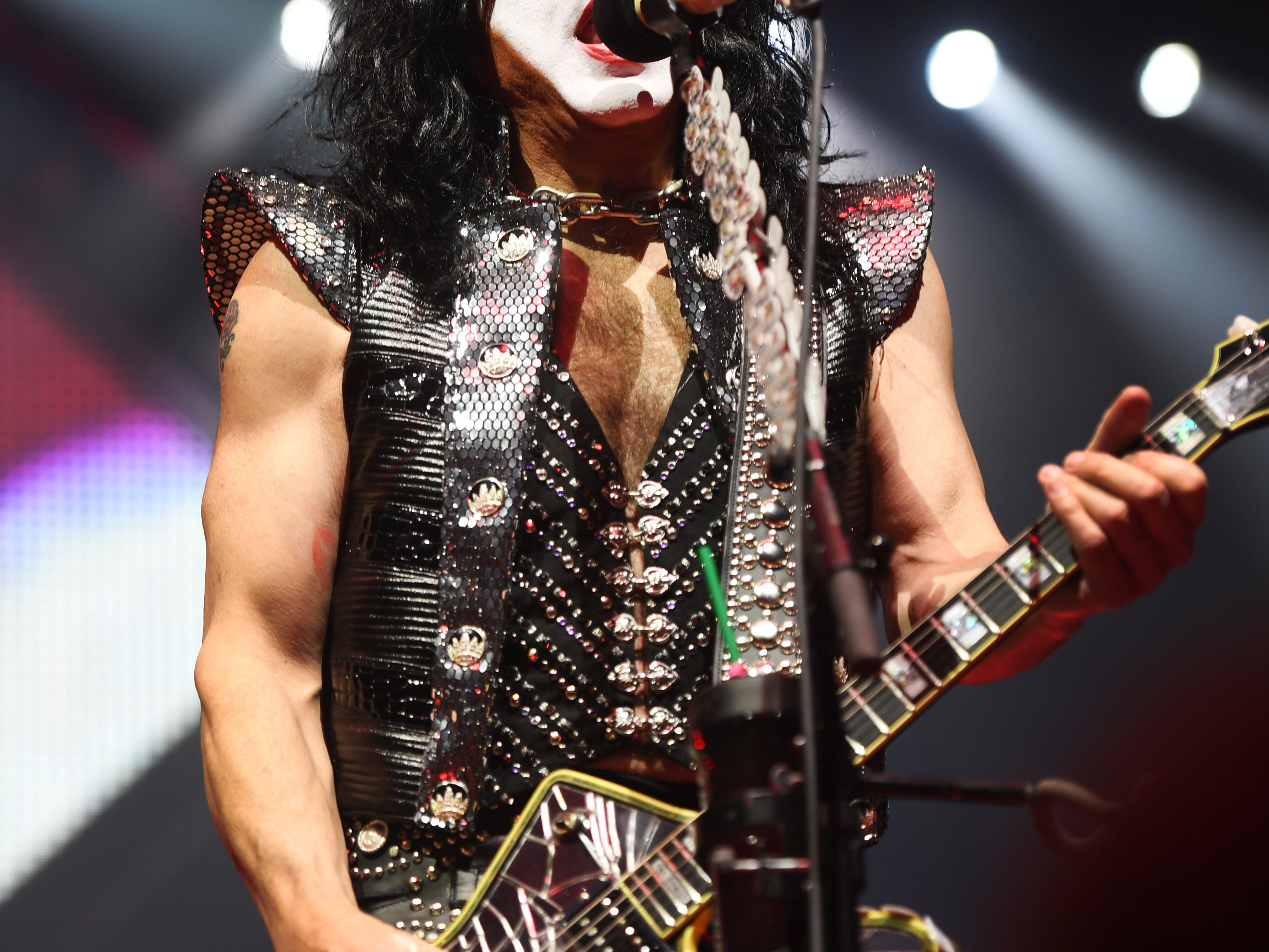 KISS lead vocalist Paul Stanley performs during the KISS End of the Road World Tour Wednesday, March 6, at the Denny Sanford Premier Center in Sioux Falls. The line up included lead vocalist Paul Stanley, bassist Gene Simmons, guitarist Tommy Thayer and drummer Eric Singer.