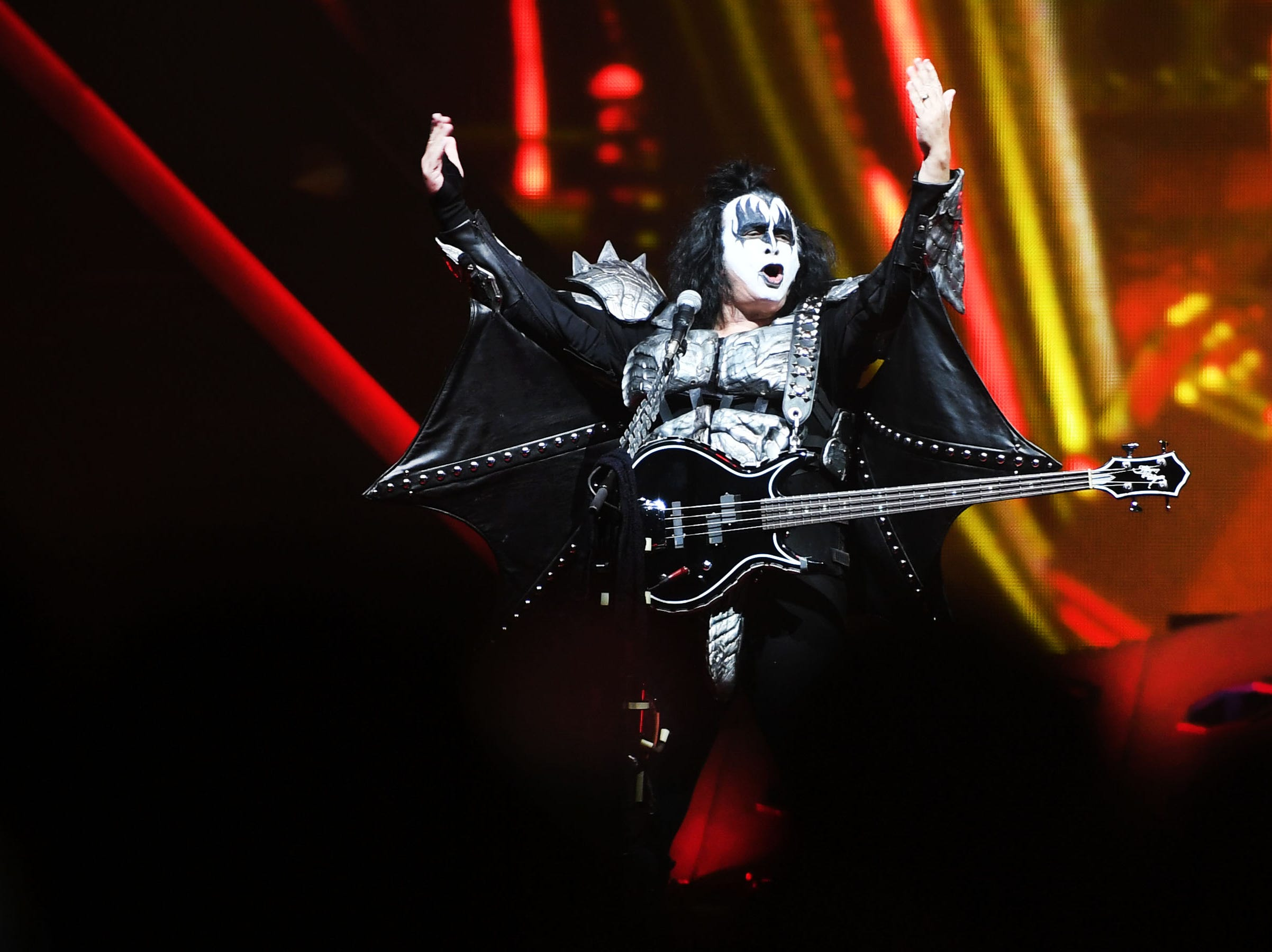 KISS bassist Gene Simmons performs during the KISS End of the Road World Tour Wednesday, March 6, at the Denny Sanford Premier Center in Sioux Falls. The line up included lead vocalist Paul Stanley, bassist Gene Simmons, guitarist Tommy Thayer and drummer Eric Singer.