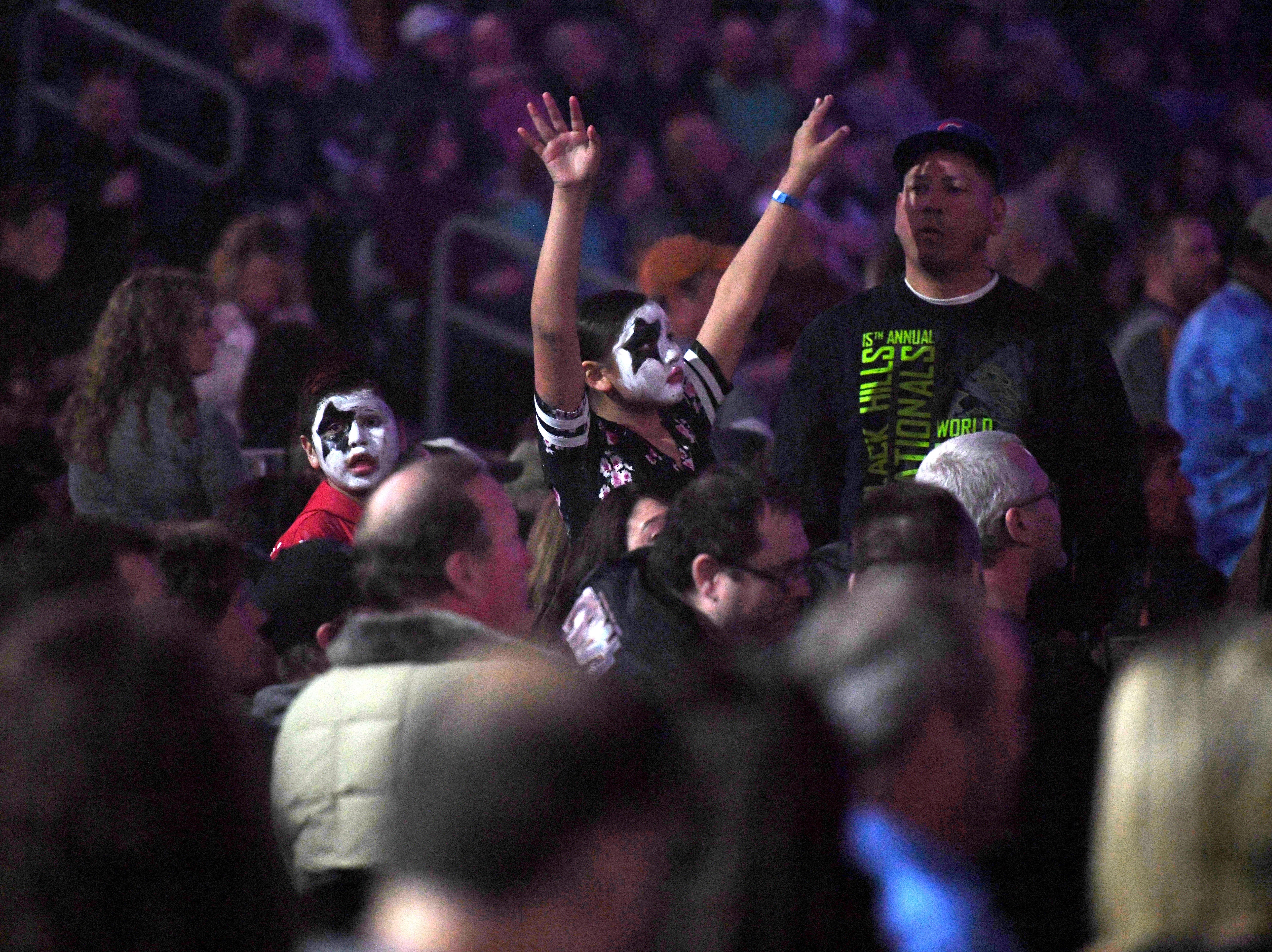 Young KISS fans wear the iconic makeup to the KISS End of the Road World Tour Wednesday, March 6, at the Denny Sanford Premier Center in Sioux Falls. The line up included lead vocalist Paul Stanley, bassist Gene Simmons, guitarist Tommy Thayer and drummer Eric Singer.