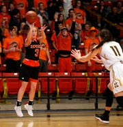 Republic Lady Tiger Halli Bartelsmeyer shoots a three pointer during class 5 sectionals against the Kickapoo Lady Chiefs the O'Reilly Family Event Center on Wednesday, March 6, 2019