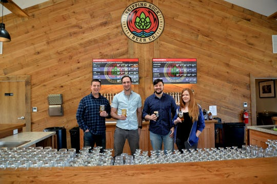 Skipping Rock Beer Company located outside of Staunton near Swoope will open March 15. It is the newest craft brewery in the Staunton, Augusta County and Waynesboro area. From left to right: Skipping Rock President Jason McCall, head brewer Ben Mullett, outside sales rep Andrew Urbanowicz and taproom manager Claire Casto.