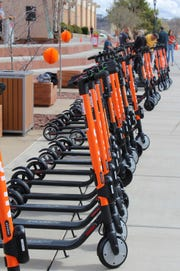 Spin e-scooters found a new home at Dixie State University Thursday March 7, 2019. Representatives of the San Francisco-based company were on hand to welcome riders.