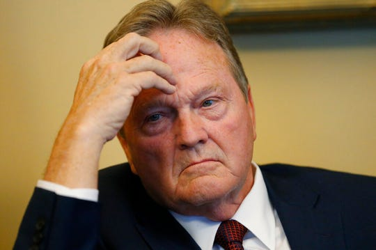 In this Jan. 28, 2019, photo, Republican Sen. Jerry Stevenson, looks on during a news conference, in Salt Lake City. The state Senate easily passed a measure on Tuesday, Feb. 26, 2019 that would bring it in line with most other states in doing away with low-alcohol beers. It now goes to the House, where it's expected to face more opposition. (AP Photo/Rick Bowmer)