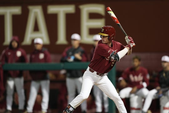 Florida State University Carter Smith (35) bats during a game between FSU and North Florida Wednesday, March 6, 2019.