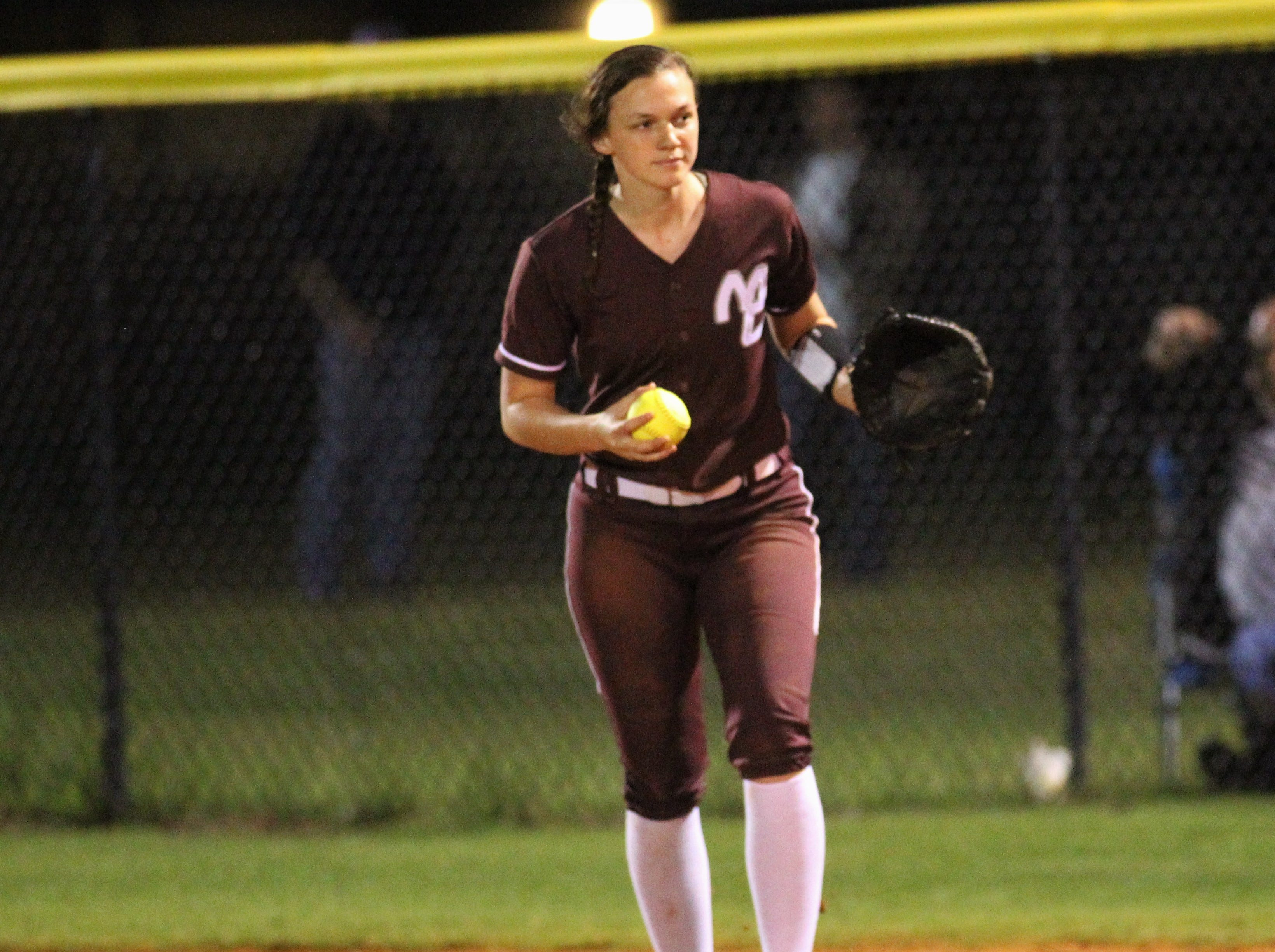 Madison County's Hope Underhill jogs a foul ball back in as the Cowgirls' softball team beat Suwannee 17-0 on Feb. 28, 2019.