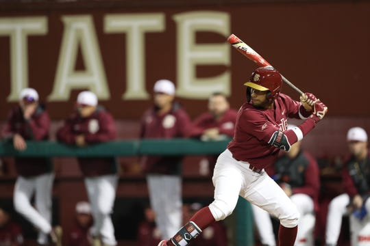Florida State University Nander De Sedas (2) bats during a game between FSU and North Florida Wednesday, March 6, 2019.