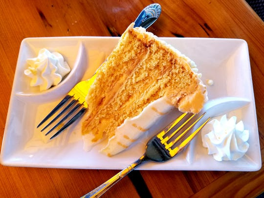 The orange sunset cake is a popular sweet treat.