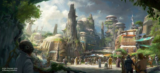 This rendering released by Disney and Lucasfilm shows the planned Black Spire Outpost, a village on the planet of Batuu that will be part of a 14-acre expansion project called Star Wars: Galaxy's Edge, set to open this summer at the Disneyland Resort in Anaheim, California, then in the fall at Disney's Hollywood Studios in Orlando.