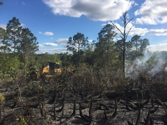 No one was hurt as a result of the wildfire that started Thursday, March 7, 2019, near Indianwood Golf & Country Club in a wooded area, a Florida Forest Service spokeswoman said.