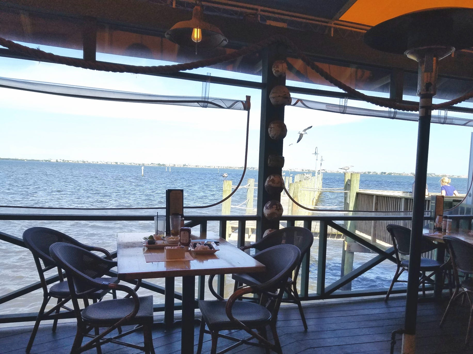 The outdoor deck provides a lovely view of the Intercoastal Waterway.