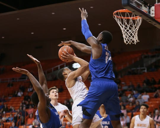 UTEP lost to Middle Tennessee in their final home game of the season Wednesday, March 6, 2019. The team said farewell to the lone senior, Paul Thomas, and UTEP and NBA great Tim Hardaway stopped by to say hi.