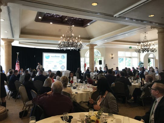 Ventura County Sheriff Bill Ayub gives his first State of the County presentation to supporters Thursday at the Spanish Hills Country Club in Camarillo. The event was organized by the Ventura County Sheriff's Foundation.