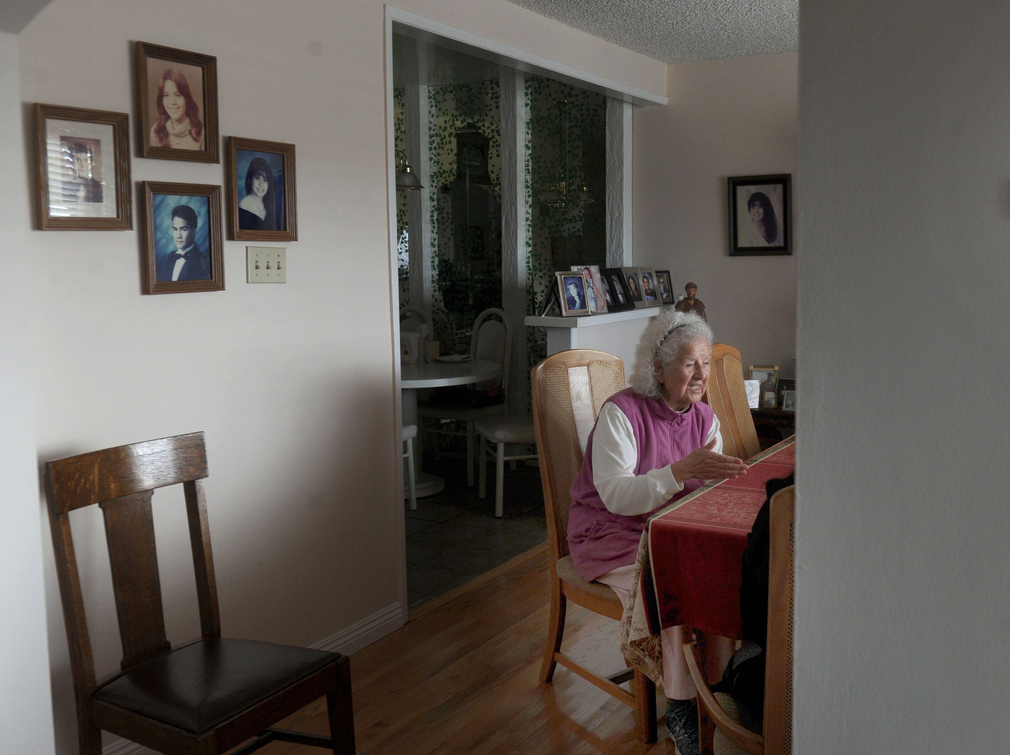 "Oxnard activist Lupe Anguiano's house is filled with religious art and symbols. She was a delegate to the historic ""First Women's Conference"" in Houston in 1977, where she read the ""Declaration of American Women."""