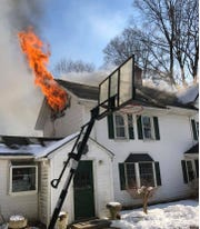 A fire damaged a house on Colline Drive in Montebello on March 7, 2019.