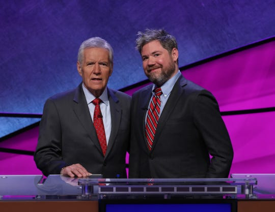 Jeopardy! host Alex Trebek and contestant and Westchester native, Austin Rogers.