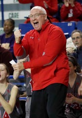 Conrad head coach John Kulesza reacts in the first half of a DIAA state tournament semifinal at the Bob Carpenter Center Wednesday.