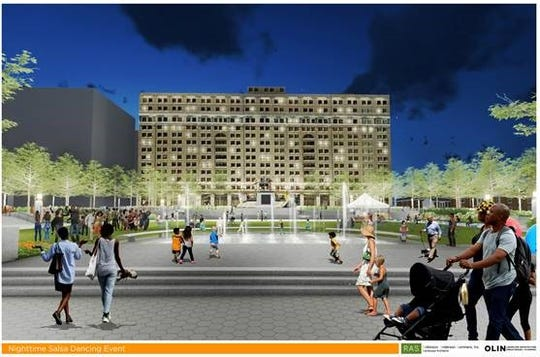 An artist's rendering of planned renovations at Rodney Square in downtown Wilmington.