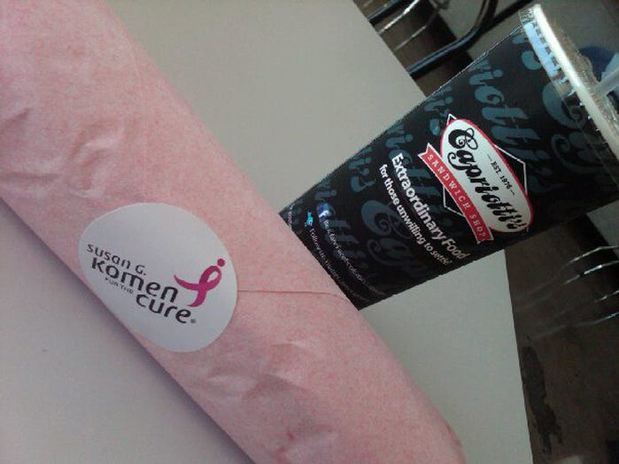 "The Las Vegas locations of the Delaware-born Capriotti's sub shop empire wrapped their Bobbies in pink paper in 2010 for breast cancer awareness. They called the campaign ""Save the Bobbies."""