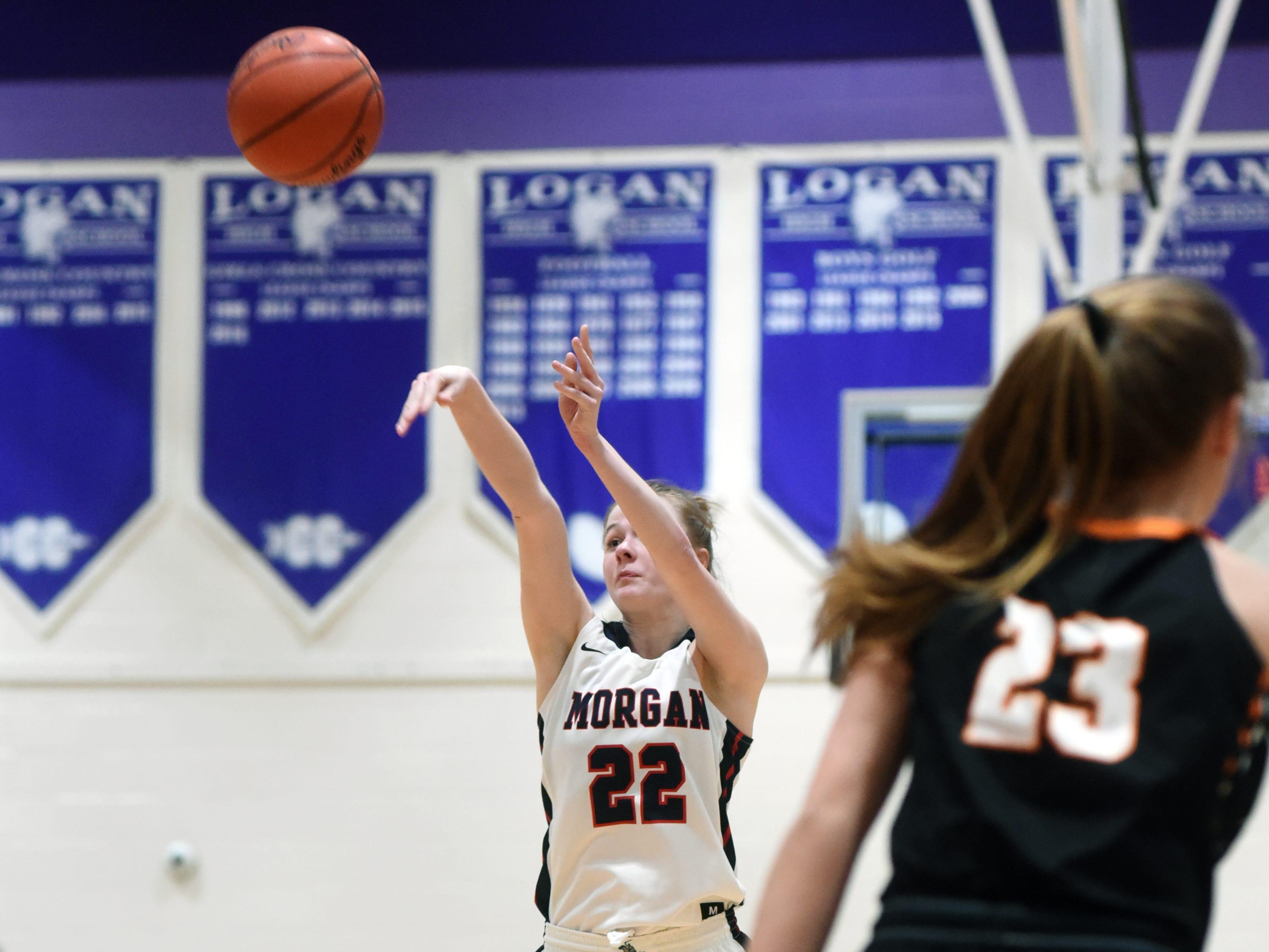 Sophia Smith shoots a 3 during Morgan's 56-55 loss to Wheelersburg in a Division III regional semifinal at Logan.