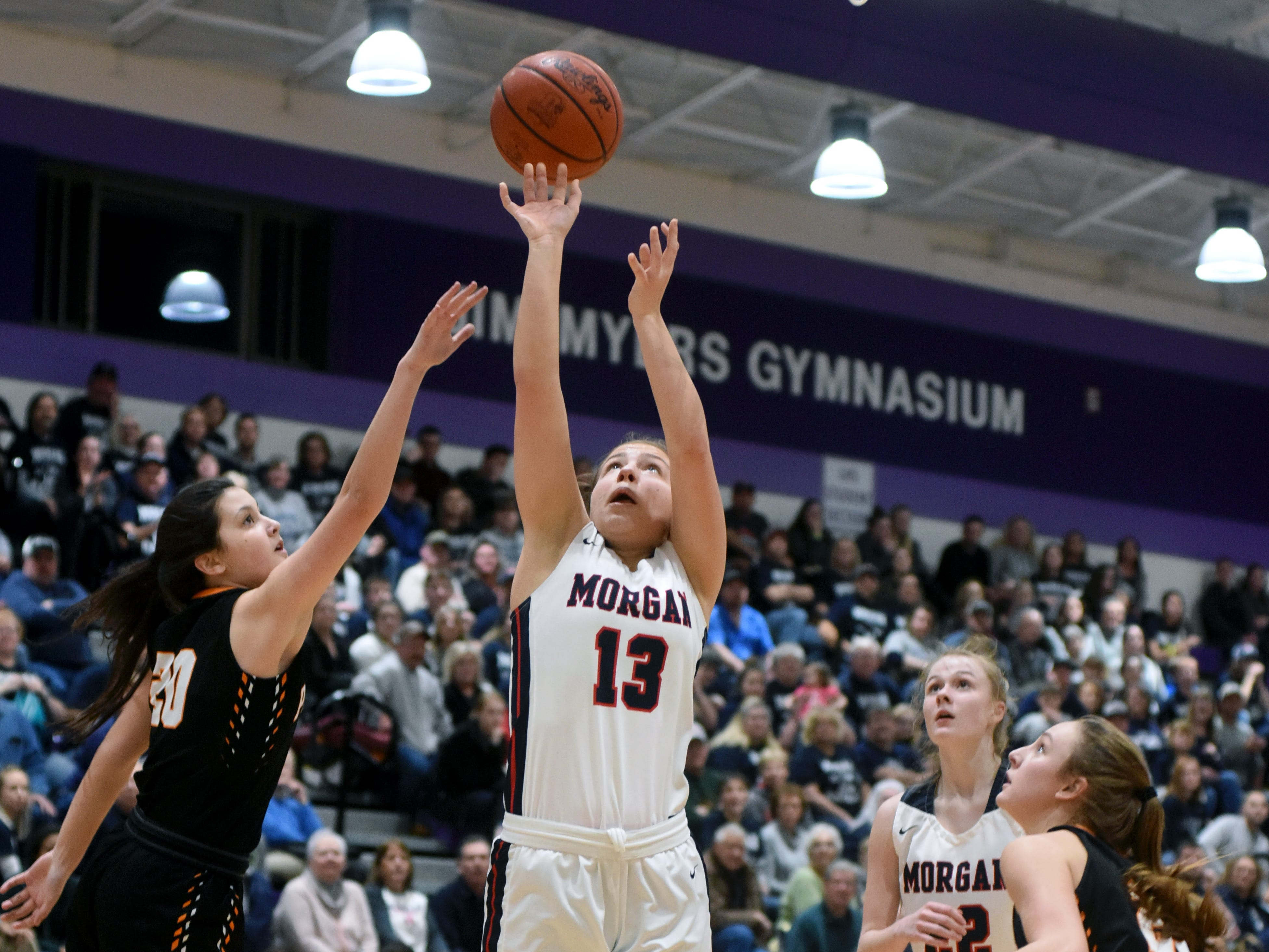 Riley Coon scores from the block during Morgan's 56-55 loss to Wheelersburg in a Division III regional semifinal at Logan.