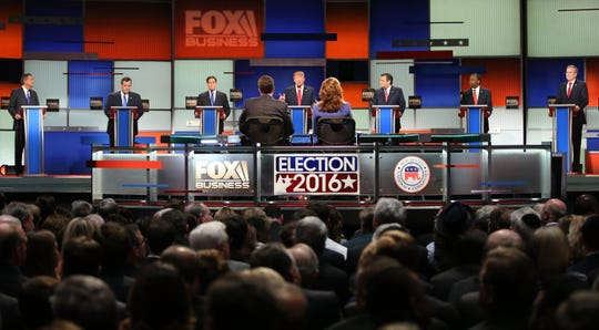 Fox Business network's Republican presidential debate in North Charleston, South Carolina, on Jan. 14, 2016.