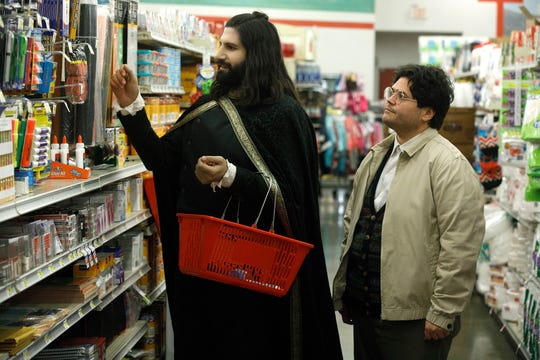 "Kayvan Novak as Nandor and Harvey Guillen as Guillermo on ""What We Do in the Shadows."""