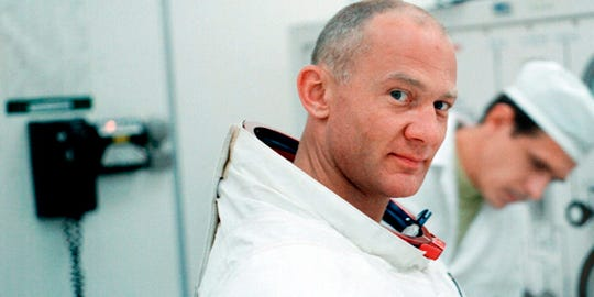 "Buzz Aldrin suits up for the first mission to put a man on the moon in ""Apollo 11,"" produced by CNN Films and Neon."