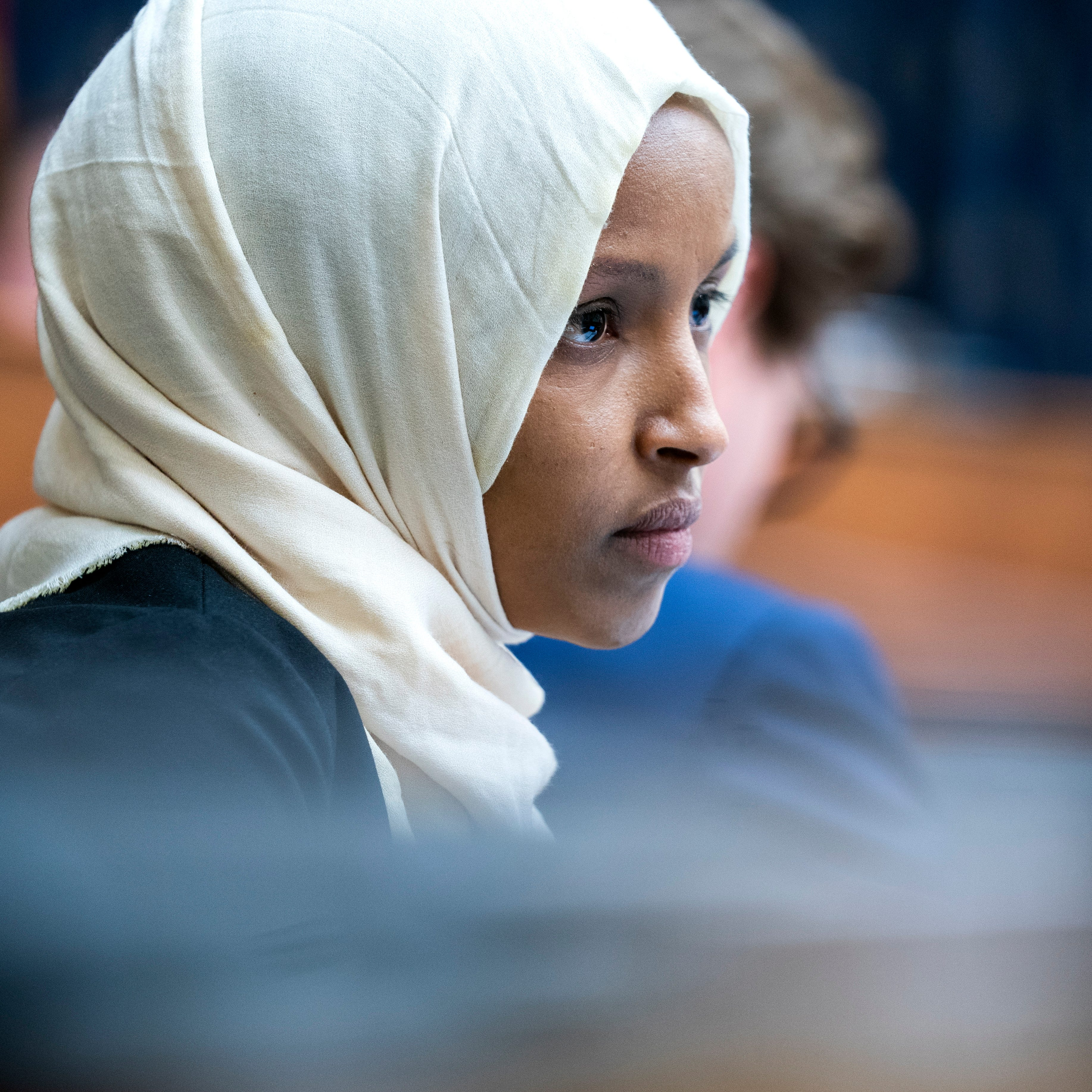 Rep. Ilhan Omar, D-Minn., attends a Foreign Affairs Committee hearing in the Rayburn House Office Building in Washington, March 7, 2019.