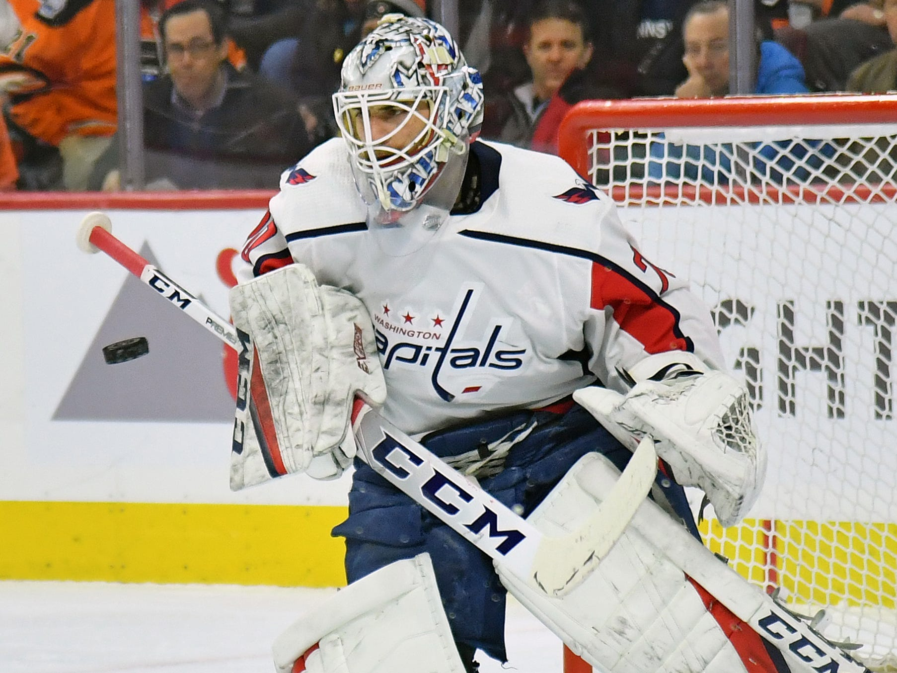 March 6: Washington Capitals goaltender Braden Holtby makes a save against the Philadelphia Flyers. He picked up his 250th victory in his 409th game, the second-fastest in NHL history to hit that milestone behind Ken Dryden (381).
