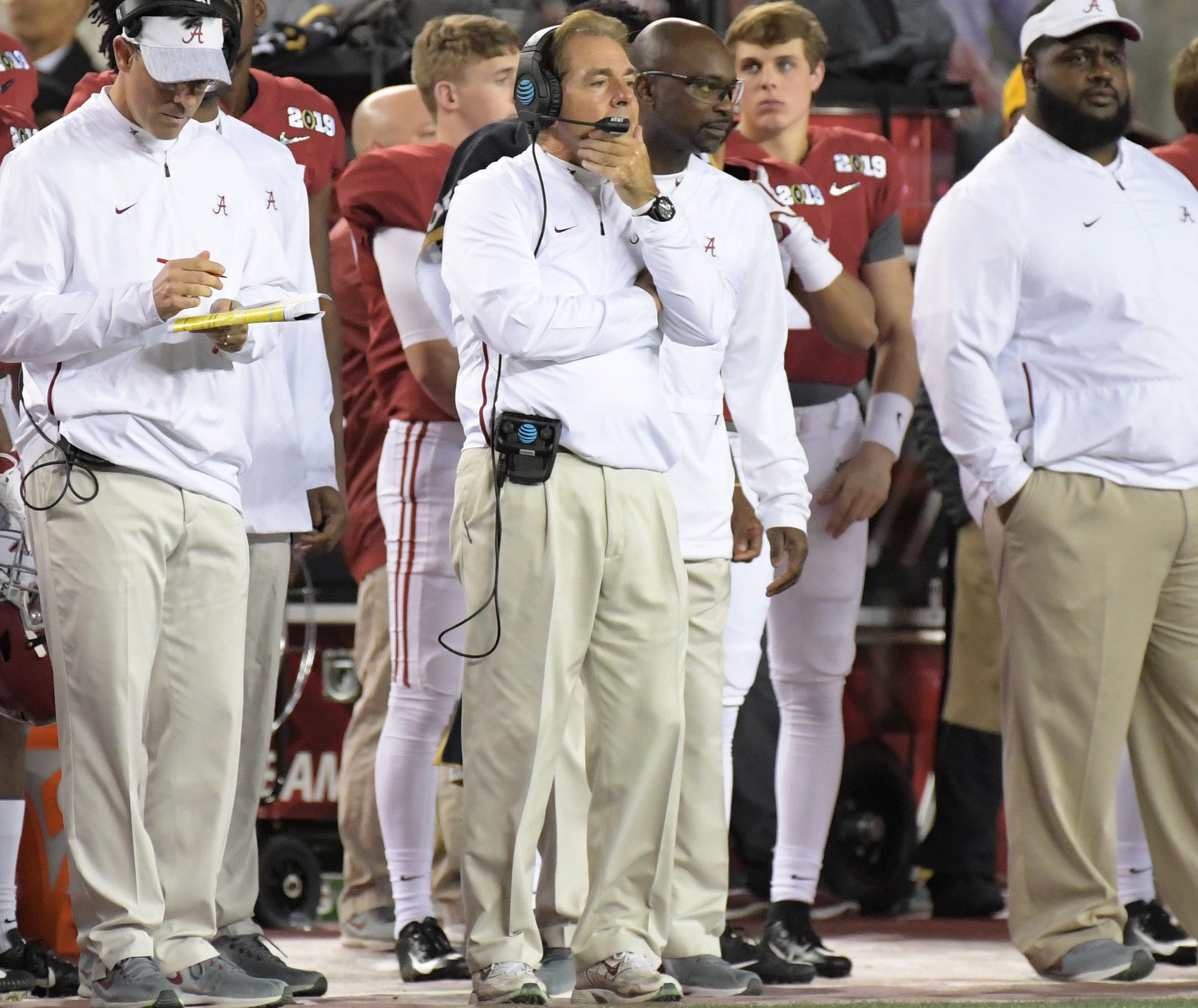 Alabama coach Nick Saban stands on the sideline during the College Football Playoff championship game at Levi's Stadium.