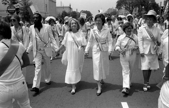 Gloria Steinem, Dick Gregory, Betty Friedan and Reps. Elizabeth Holtzman, D-N.Y., Barbara Mikulski, D-Md., and Margaret Heckler, R-Mass., at ERA march in Washington on July 9, 1978.