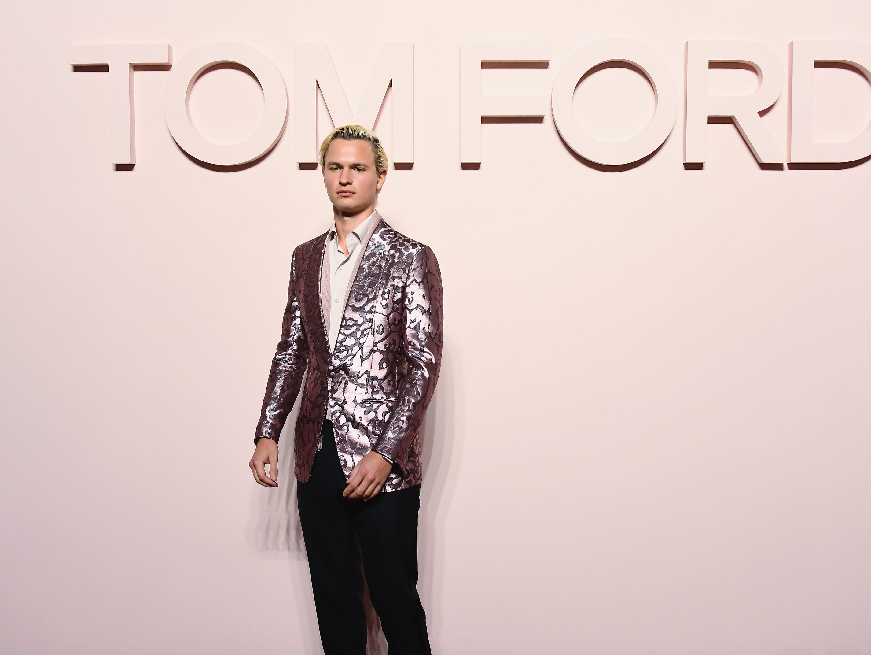 NEW YORK, NEW YORK - FEBRUARY 06: Ansel Elgort attends the Tom Ford FW 2019 - Arrivals - New York Fashion Week: The Shows on February 06, 2019 in New York City. (Photo by Nicholas Hunt/Getty Images) ORG XMIT: 775293212 ORIG FILE ID: 1127939799
