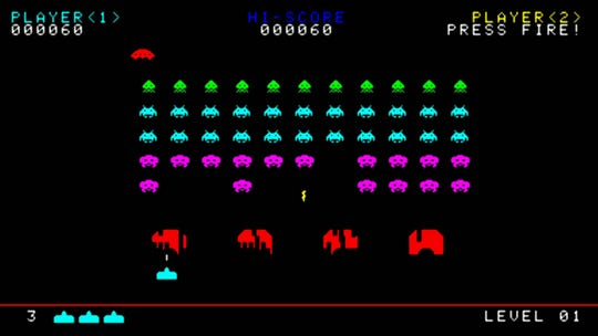"""""""Space Invaders"""" are among the games included on AtGames Legends Flashback Blast! In the box is a wireless controller and HDMI dongle to plug into a television."""