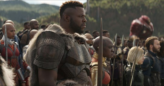 "M'Baku (Winston Duke, center) fought alongside the Avengers in ""Infinity War"" and returns in ""Endgame."""