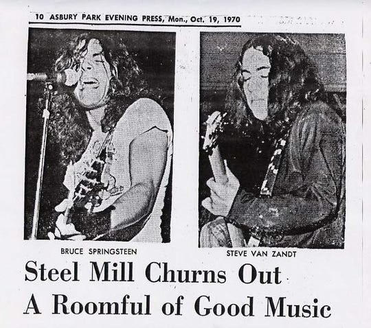 Bruce Springsteen and Stevie Van Zandt featured in the Asbruy Park Press in 1970.