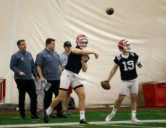 Artur Sitkowski throws during the Rutgers football first spring practice at the bubble next to stadium in Piscataway, NJ on March 8, 2019.