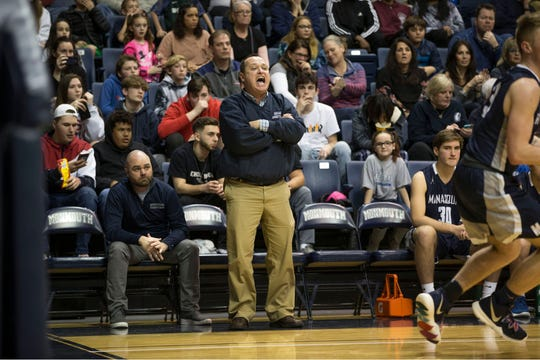 Manasquan boys basketball coach Andrew Bilodeau instructs his team during the 2019 Shore Conference Tournament Final on Feb. 23, 2019 at Monmouth University