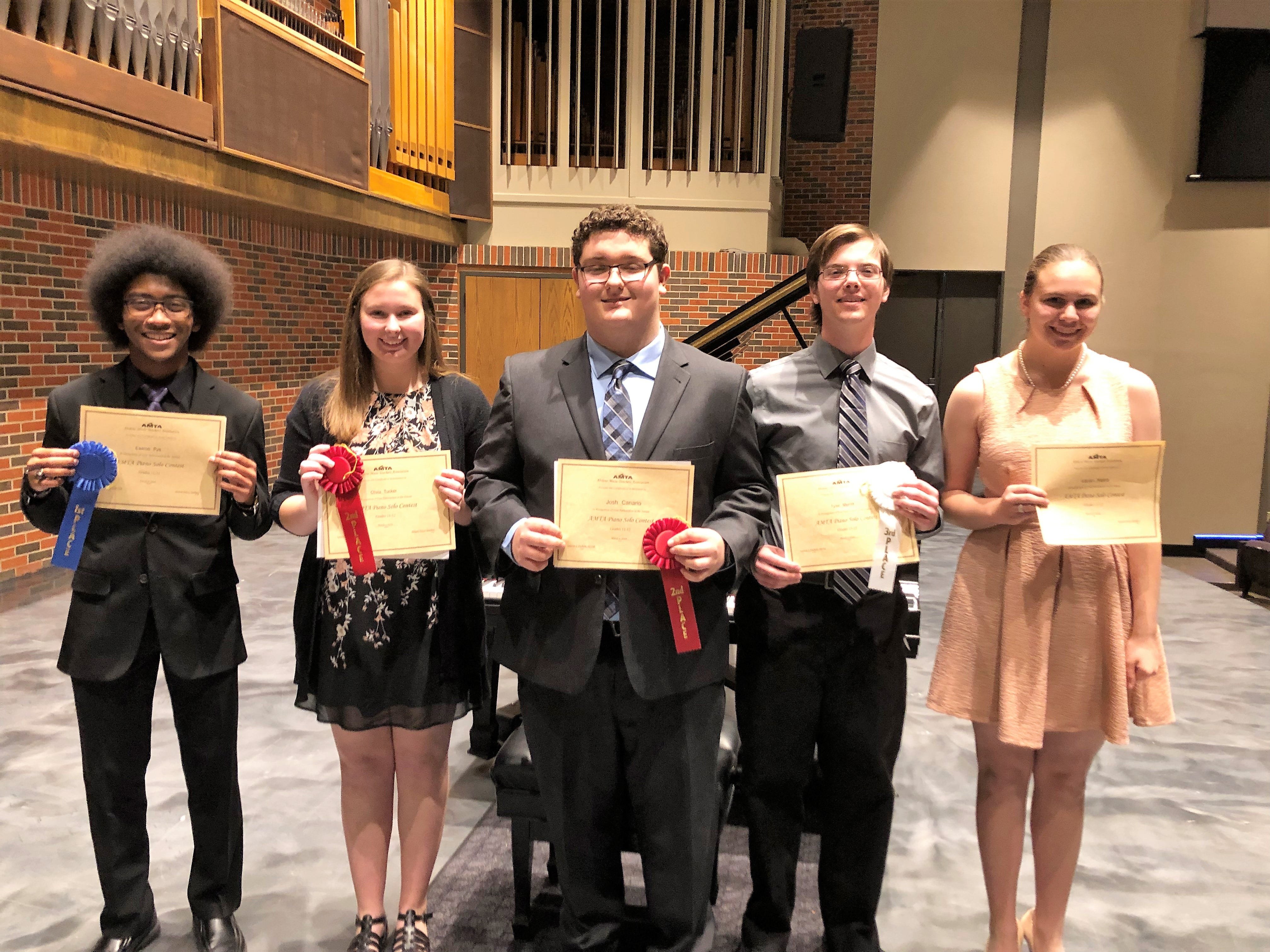 Level 11-12 at the Abilene Music Teachers Association solo piano contest. From left: Eaaron Pye, first place; Olivia Tucker and Josh Canario, second place; Tyler Merritt, third place; and Lauren Najera, honorable mention.