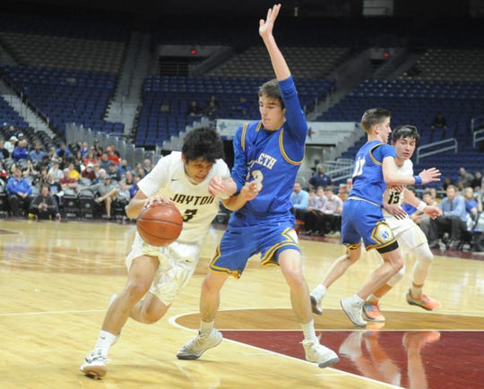 Jayton guard Aaron Hernandez (3) drives toward the lane during a Class 1A semifinal against Nazareth on Thursday, March 7, 2019, at the Alamodome.