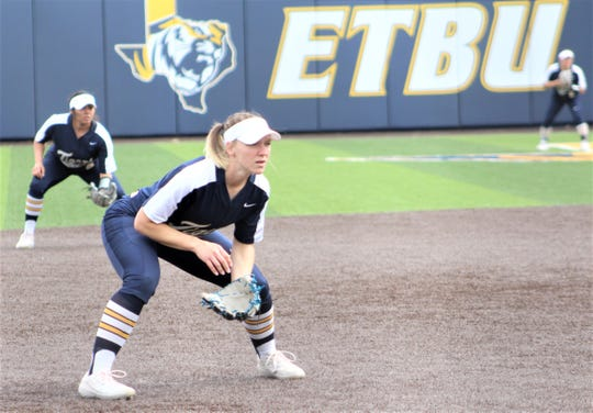 Hawley grad MacKenzie Anderson, right, is the starting third baseman for the No. 6 East Texas Baptist softball team.