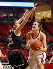 Oklahoma's Mandy Simpson, right, looks for a shot as Texas Tech's Brittany Brewer (20) defends during the second half on Tuesday, March 5, 2019, in Lubbock.