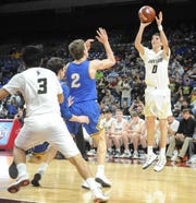 Jayton's Tripp Scott (0) takes a baseline jumper during a Class 1A semifinal against Nazareth on Thursday, March 7, 2019, at the Alamodome.