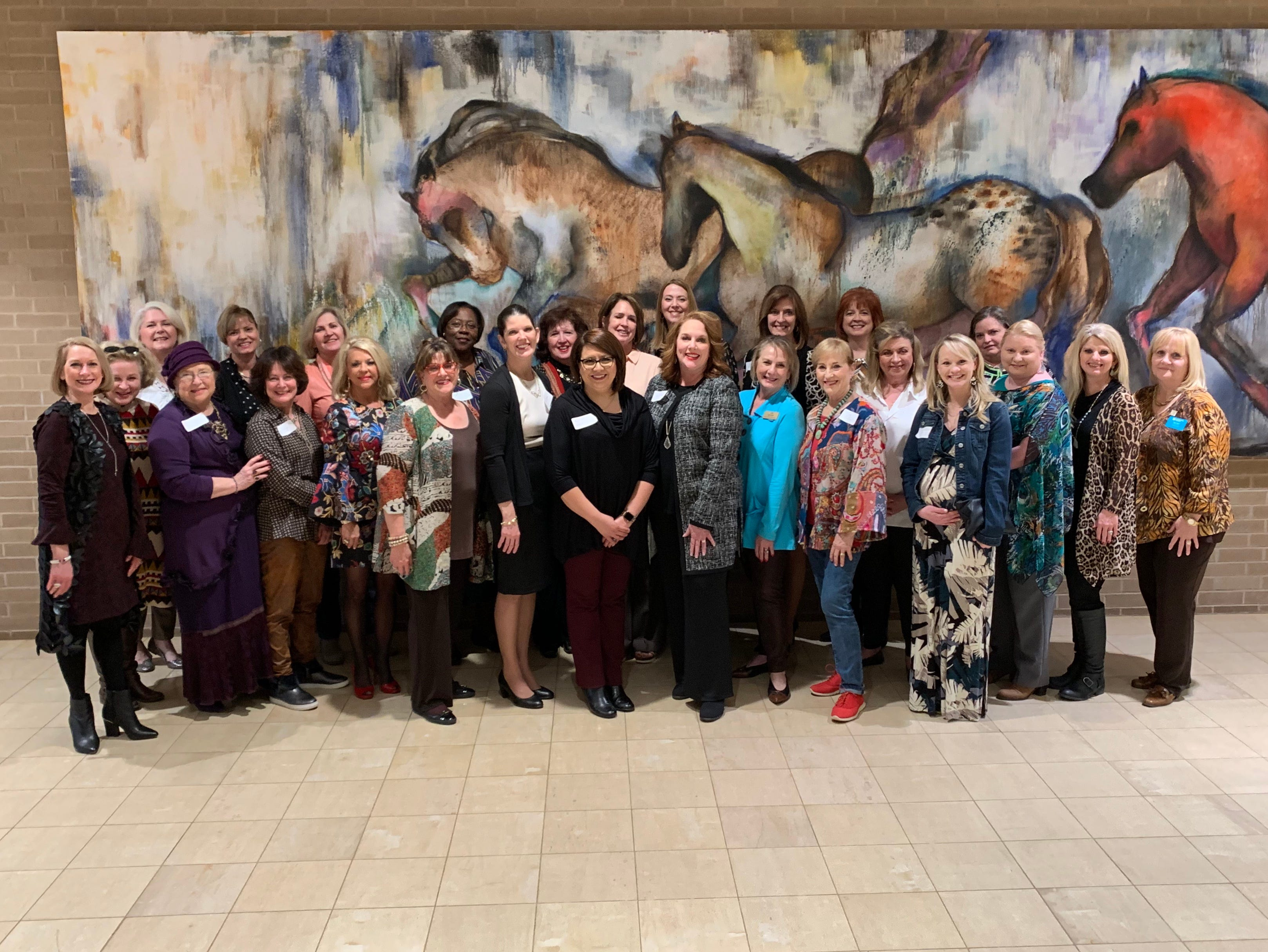 The professionals in the 2019 Leadership Texas for Women class were celebrated at a reception conducted by Abilene's Leadership Texas graduates. At front row center are new program members Julie St. John, DrPH; Kristina Campos Davis, Ph.D.; and Julie Smith. New members not pictured: Megan Dobbs and Leslie Chalmers.
