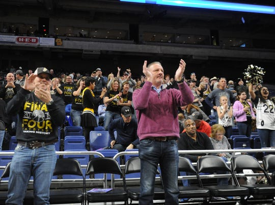Jayton fans cheer on the Jaybirds during a Class 1A semifinal against Nazareth on Thursday, March 7, 2019, at the Alamodome.