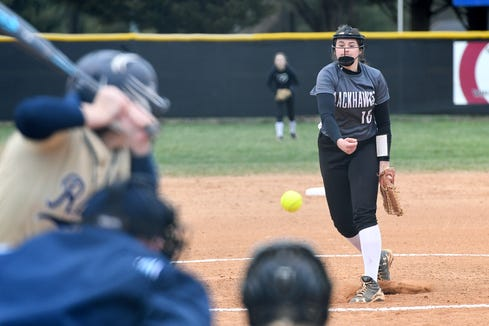 North Buncombe pitcher Caitlin Griffin delivers a pitch to a Roberson batter during their game at North Buncombe High School on March 7, 2019. North Buncombe defeated Roberson 3-1.