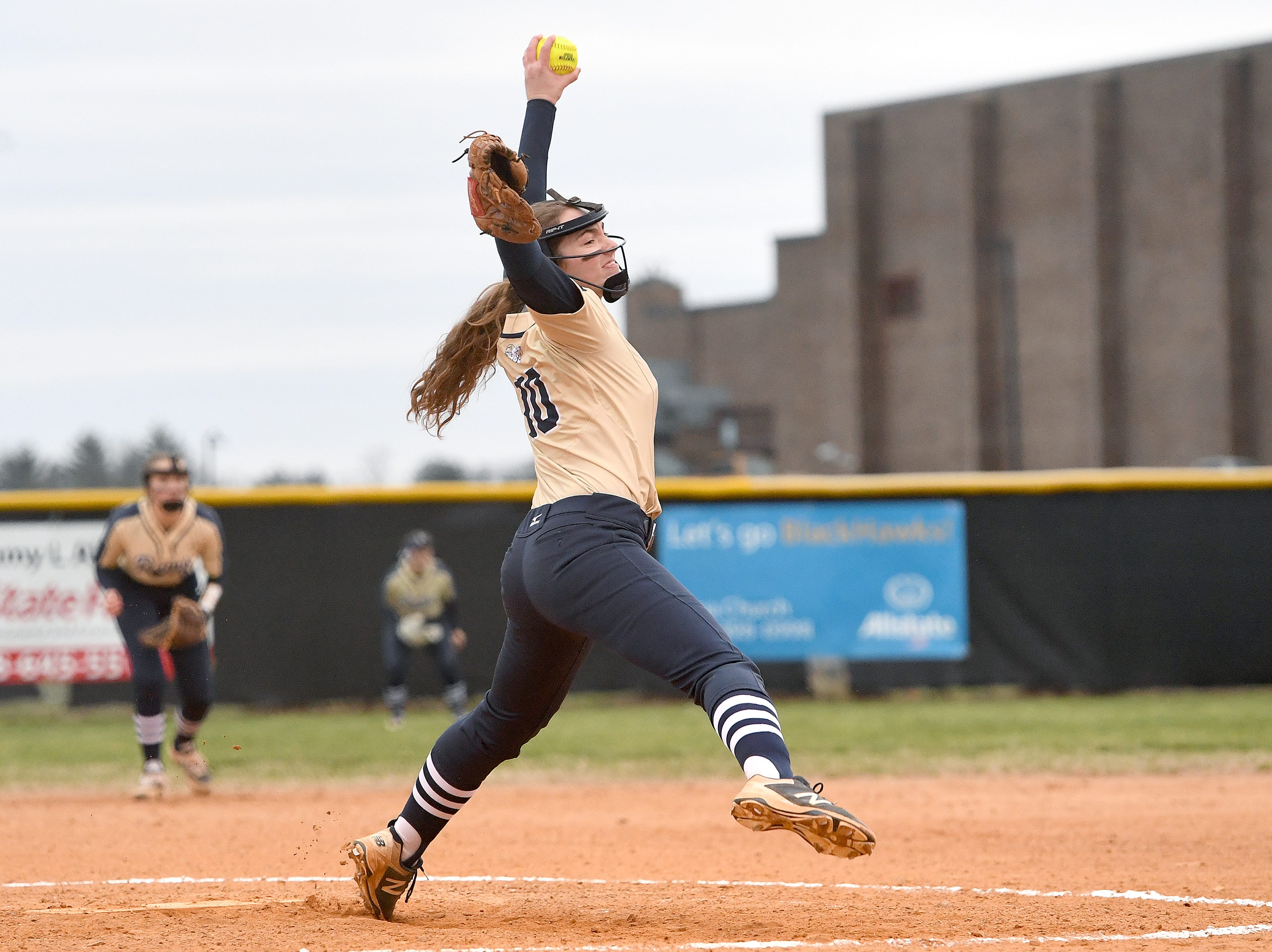 Roberson pitcher Amala Clawson delivers a pitch to a North Buncombe batter during their game at North Buncombe High School on March 7, 2019. North Buncombe defeated Roberson 3-1.