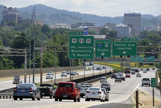 Traffic crosses Bowen Bridge west of downtown Asheville.