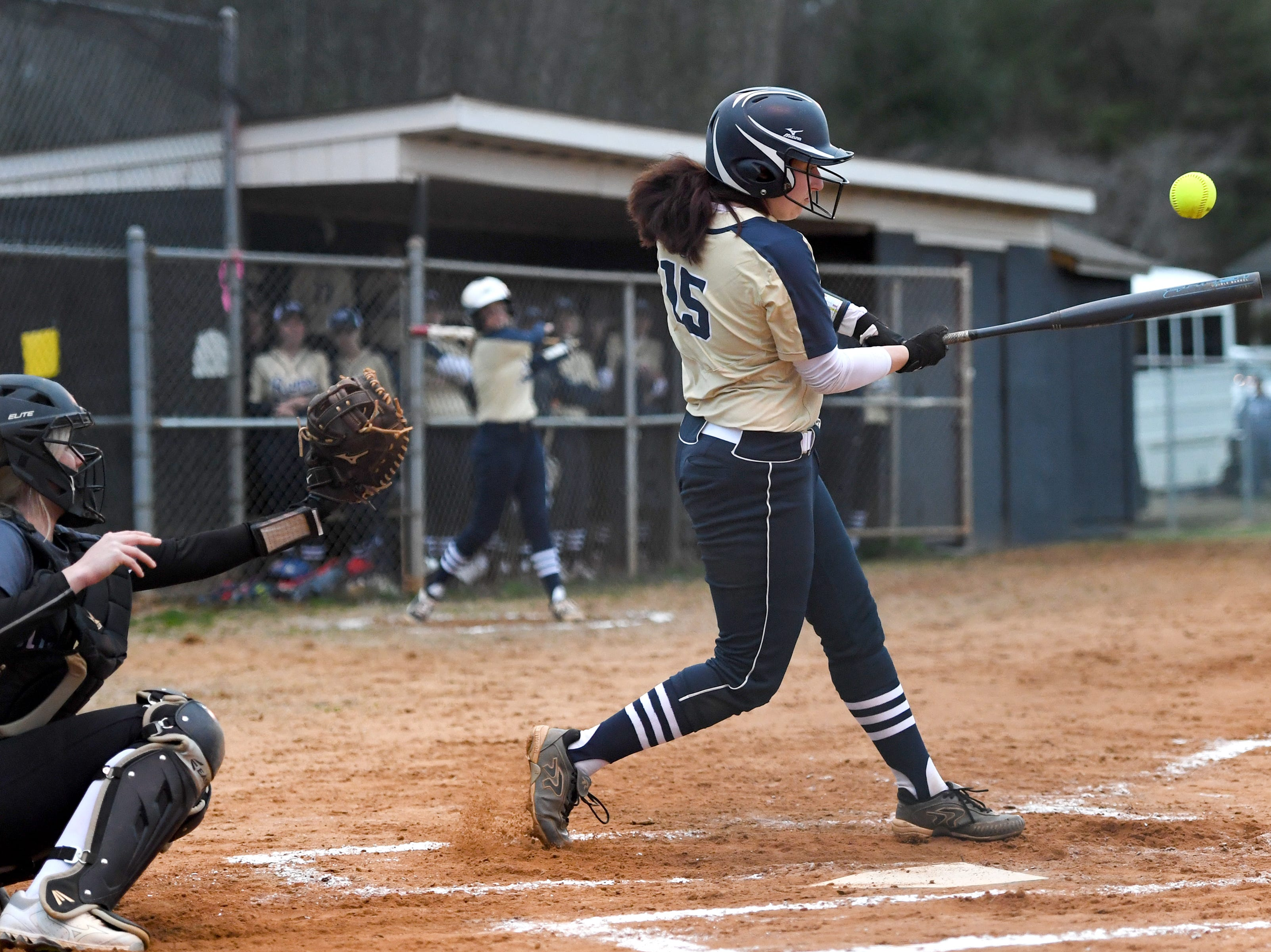 Roberson's Alexis Pike hits the ball against North Buncombe during their game at North Buncombe High School on March 7, 2019. North Buncombe defeated Roberson 3-1.